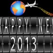 Happy New Year 2013 mechanical timetable terminal airplane circling the globe — Stock Vector