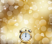 A Happy New Year Clock Striking Midnight abstract Lights on gold background — Стоковое фото