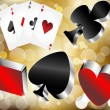 Shiny metallic glossy symbols of playing cards on gold abstract background - Stock Vector