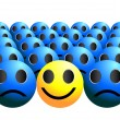 Stock Vector: Smiley ball stands out in crowd single smile in crowd