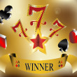 Stock Vector: Gambling winner lucky seven 777 banner gold vector illustration