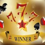 Gambling winner lucky seven 777 banner gold vector illustration — Stock Vector #18774661