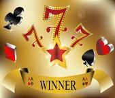 Gambling winner lucky seven 777 banner gold vector illustration — Stock Vector