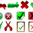 Tick and cross signs right and wrong button signs vector illustration - Stock Vector