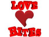 Lovebites Love Bites Bitten heart vector illustration isolated on white — Stock Vector