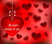 Szczęśliwy walentynki, którą moje serce nalezy do karty z serce streszczenie wektor ilustracja — Wektor stockowy