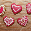 Christmas home made gingerbread cookies over wooden table valentines day — Stock Photo