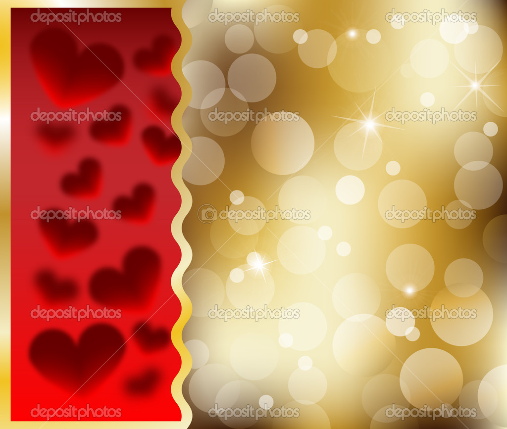 Happy Valentines Day heart card with heart abstract gold Vector illustration — Stock Vector #19991107