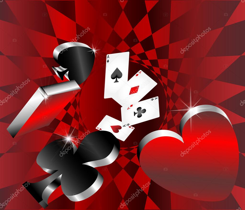 Gambling icons cards shiny metallic glossy symbols of ...