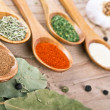 Spices on Wood table food preparation Food ingredients — Stock Photo