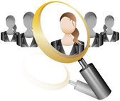 Search Employee Icon for Recruitment Agency Magnifier with Business — Stock Vector