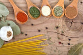 Spices Food Preparation on Wood table Food ingredients — Stock Photo