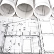 Architectural blueprint technical project drawings — Stock Photo