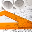 Architectural blueprint technical project drawings - Stock Photo