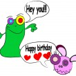 Cute happy birthday card with funny alien monster vector illustration - Stock Vector