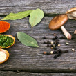Stock Photo: Spices Food Preparation on Wood table Food ingredients