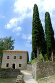 Old stone house with cypress trees — Photo