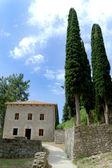 Altes steinhaus mit zypressen — Stockfoto