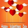 Valentines Day Heart Balloons on Orange Background vector illustration — Imagen vectorial
