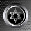 Hebrew Jewish Star of magen david in black metal button on black metal background vector illustration — Imagen vectorial