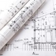 Architect rolls and plans project blueprint — Stock Photo