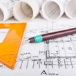 Architectural project blueprint — Stock Photo