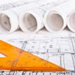 Stock Photo: Architectural project blueprint