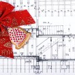 Architect design bluseprints and project drawings on table christmas background — Stock Photo