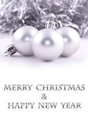 Merry christmas and happy new year silver Christmas ball decoration background — Stock Photo