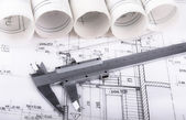 Architect project drawing blueprint — Stock Photo