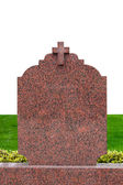 Blank gravestone isolated on white ready for inscription — Stock Photo