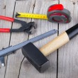 Builder Tools on old wood — Stock Photo