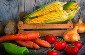 Organic vegetable on wood table — Stock Photo