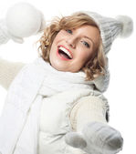 Smiling woman with snow ball — Stock Photo