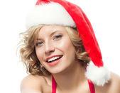 Woman in santa's hat — Photo