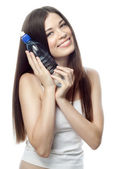 Woman with bootle of wate — Stock Photo