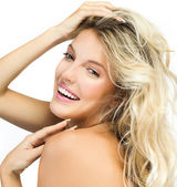Smiling blond woman — Stock Photo