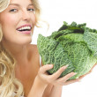 Woman with cabbage — Stock Photo #38854049