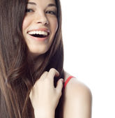 Smiling brunette woman — Stok fotoğraf