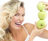 žena s jablky — Stock fotografie