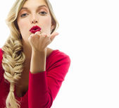 Woman blond with red lips — Stock Photo