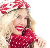 Donna in abbigliamento caldo — Foto Stock
