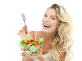Woman with salat — Stock Photo