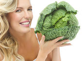 Woman with cabbage — Stock Photo