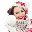 Woman with snow ball — Stock Photo #39084879