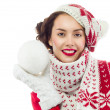 Woman with snow ball — Stock Photo
