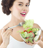 Woman is eating salat — Stock Photo