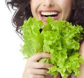 Woman with fresh salat — Stock Photo