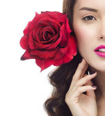 Woman red rose flower — Stock Photo
