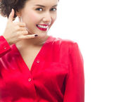 Woman makes call gesture — Stock Photo
